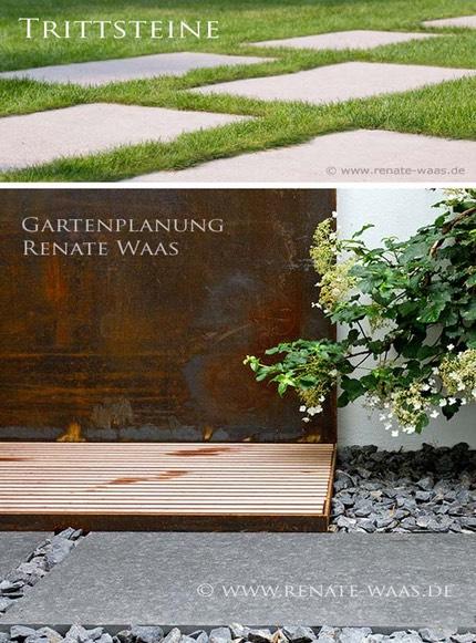 Vorschlag Bodenbeläge Für Einen Modernen Garten. Betonplatten,  Granitplatten Und Schotter Sind Beliebte Materialien Für